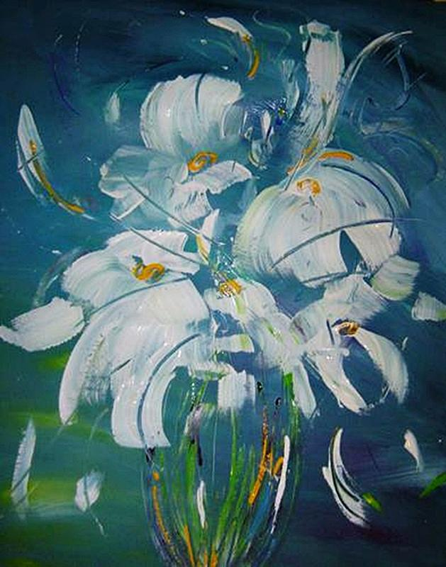 Flowers Painting - Blue And White by Bridgette  Allan