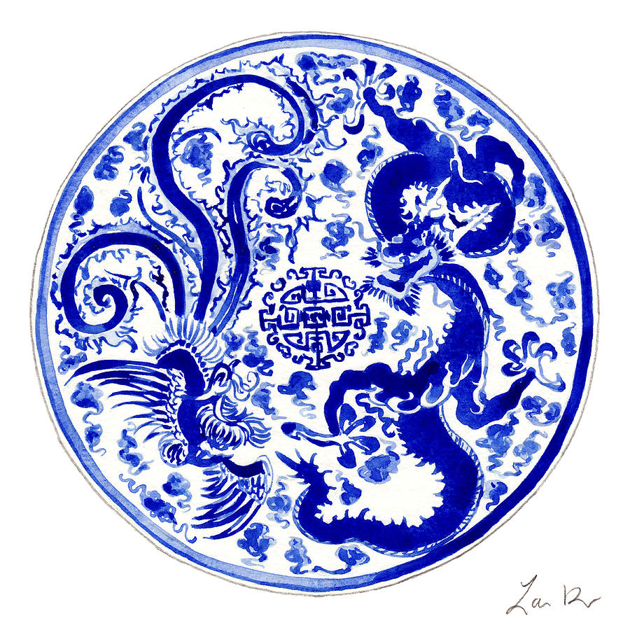 Blue And White Chinese Chinoiserie Plate 3 Painting By