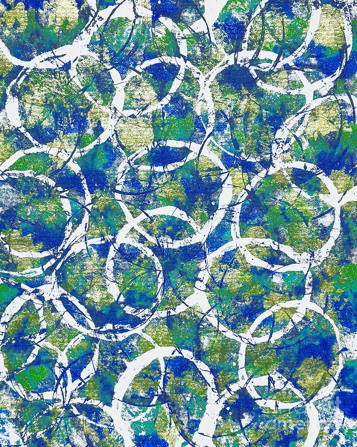 Blue and White Circles Abstract by Patricia Strand