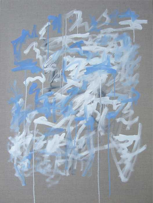 Abstract Painting - Blue and White Composition by Michael Henderson