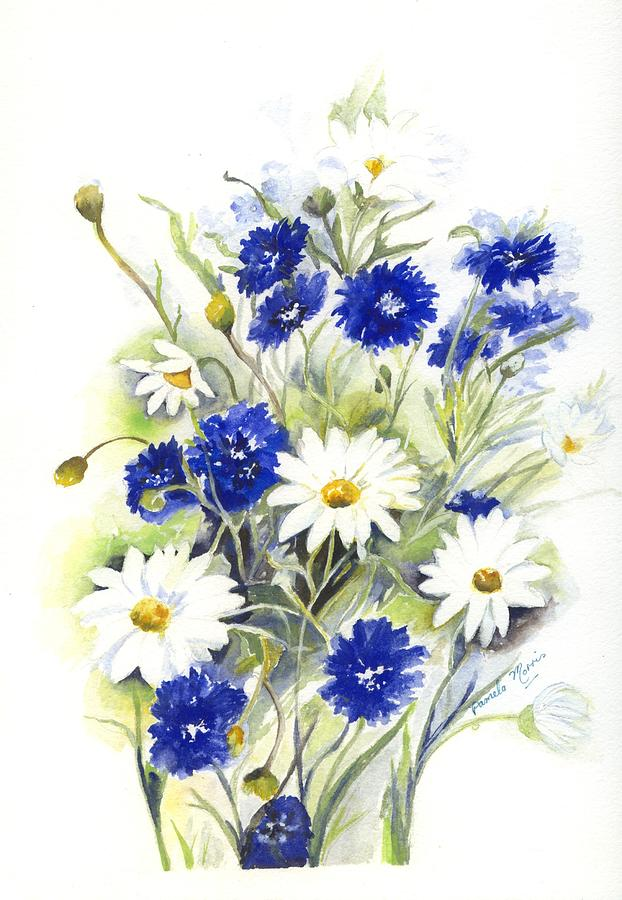 Blue and white flowers painting by pamela morris blue flowers painting blue and white flowers by pamela morris mightylinksfo Images
