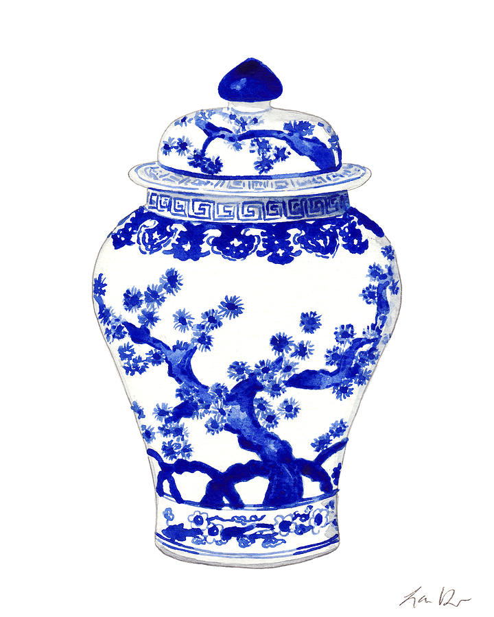 Blue And White China Painting - Blue and White Ginger Jar Chinoiserie 10 by Laura Row