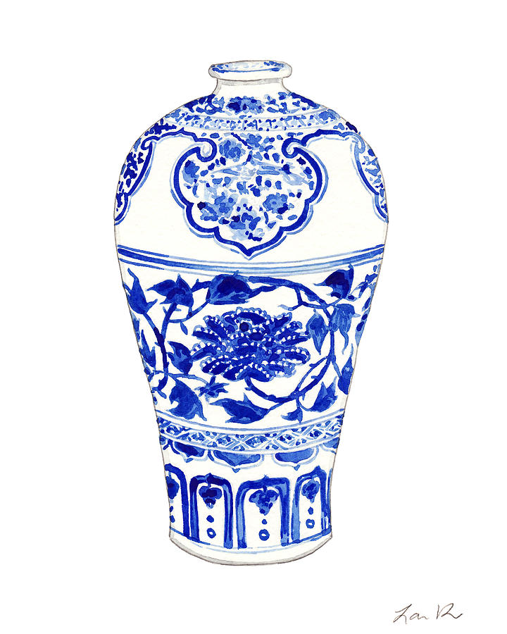 blue and white china painting blue and white ginger jar chinoiserie 3 by laura row