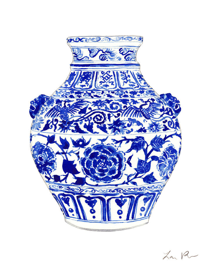 Blue And White China Painting - Blue and White Ginger Jar Chinoiserie 4 by Laura Row