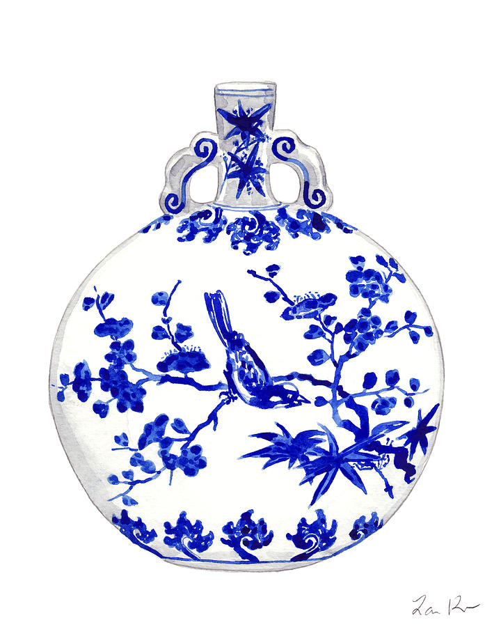 030dfb2eeb3 Blue And White China Painting - Blue And White Ginger Jar Chinoiserie 6 by Laura  Row