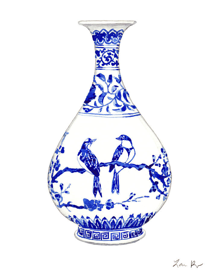 1b31cff0d6a Blue And White China Painting - Blue And White Ginger Jar Chinoiserie 7 by Laura  Row