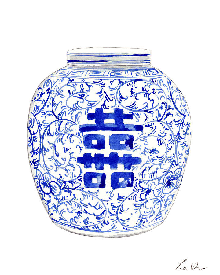 4e8e9b9c14a Blue And White China Painting - Blue And White Ginger Jar Chinoiserie 8 by Laura  Row