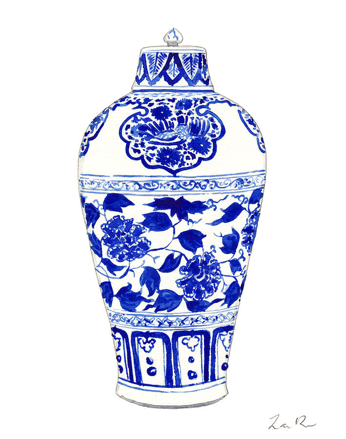 Blue And White China Painting - Blue and White Ginger Jar Chinoiserie Jar 1 by Laura Row