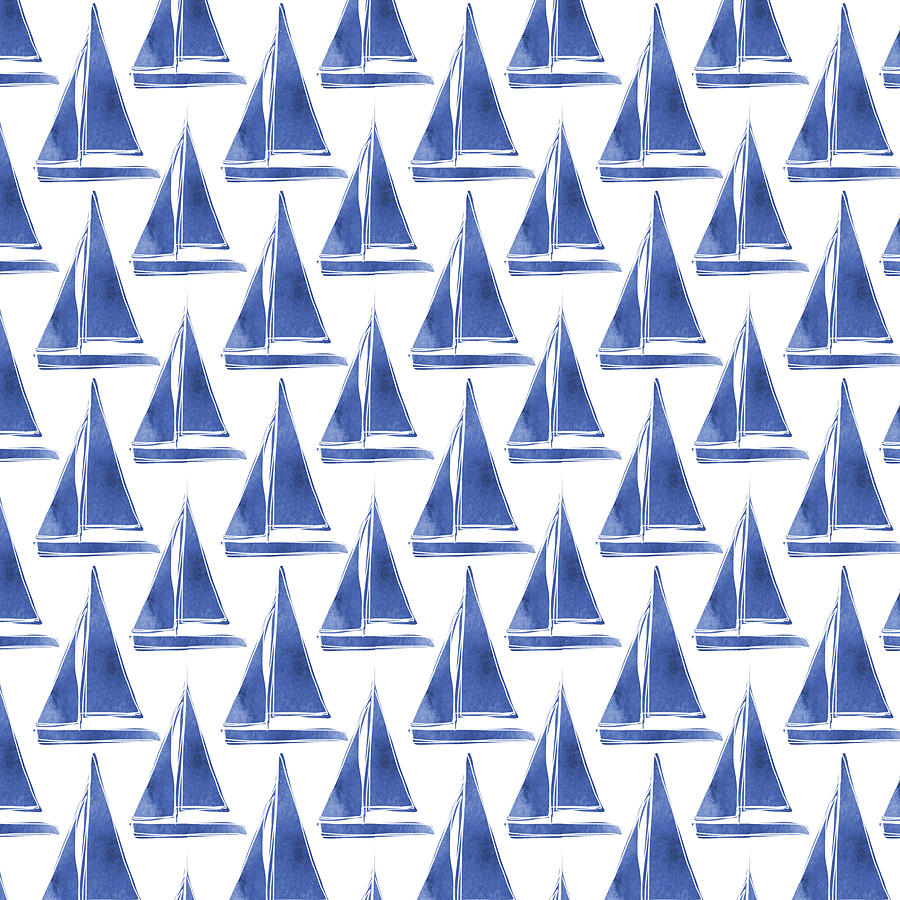 Boats Digital Art - Blue And White Sailboats Pattern- Art By Linda Woods by Linda Woods