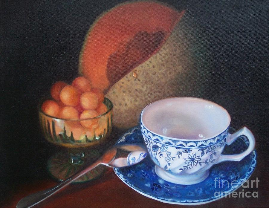 Still Life Painting - Blue And White Teacup And Melon by Marlene Book