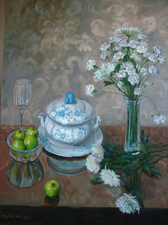 Still Life Painting - Blue and White Tureen by Nancy Paris Pruden