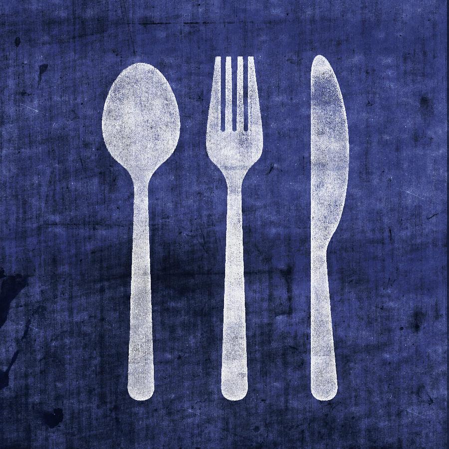 Utensils Mixed Media - Blue And White Utensils- Art By Linda Woods by Linda Woods