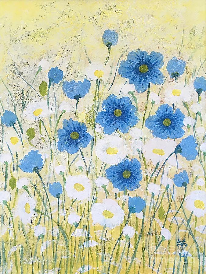 Flower Painting - Blue And White by Wonju Hulse