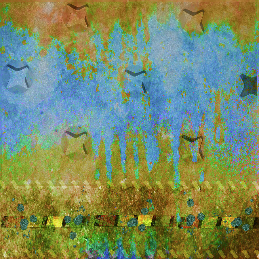 Abstract Photograph - Blue And Yellow Abstract by Karen Beasley