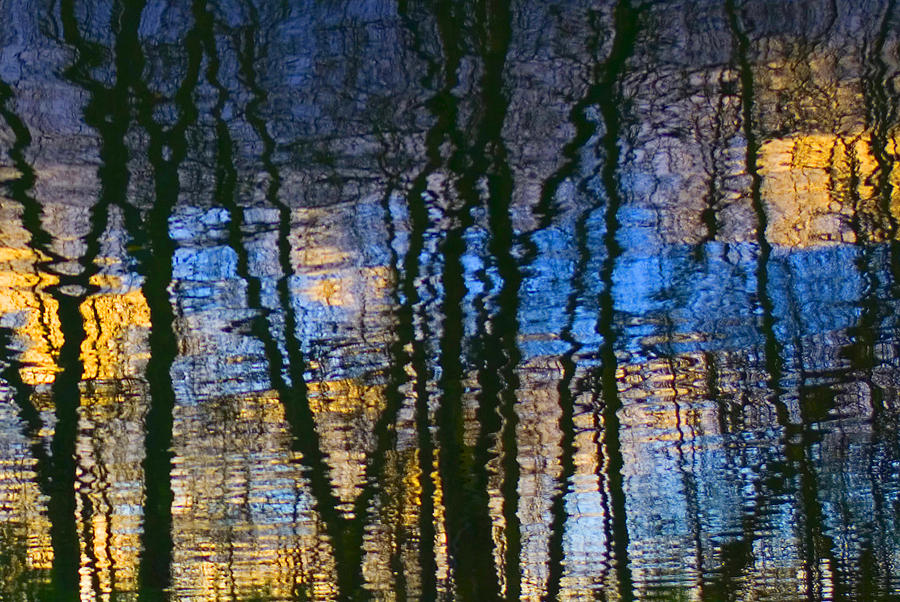 Abstract Photograph - Blue And Yellow Abstract Reflections by Pixie Copley
