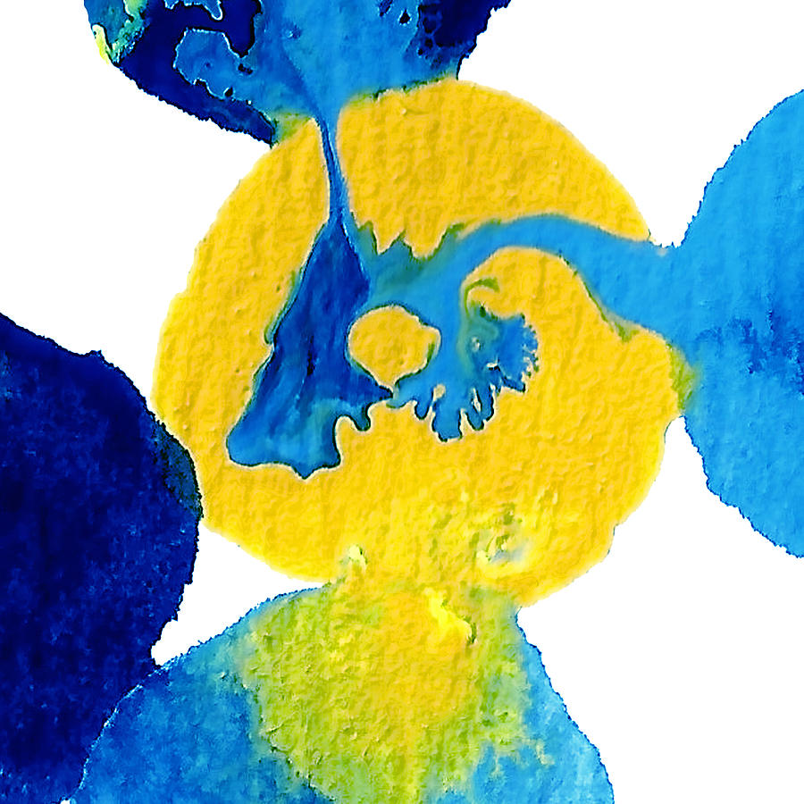 Blue And Yellow Sea Interactions A Painting