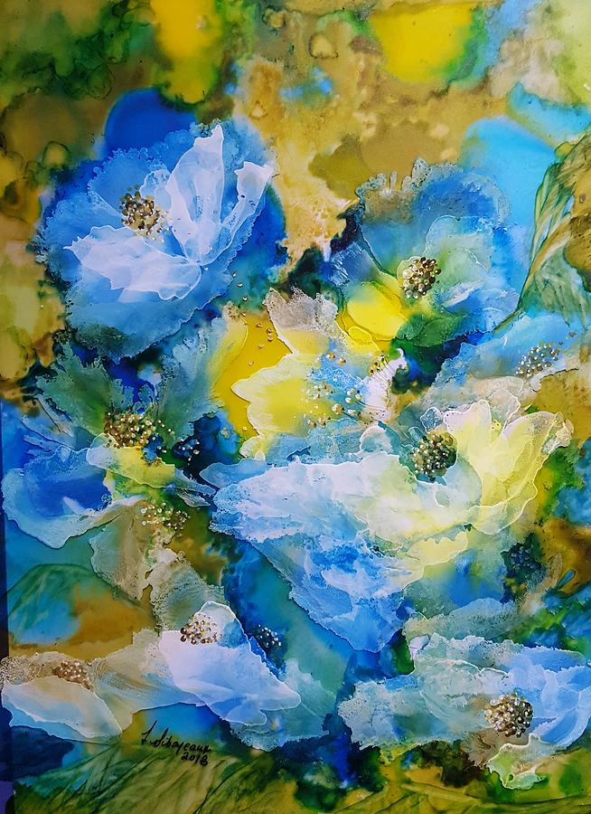 Blue Painting - Blue and Yellow by Lucy Giboyeaux