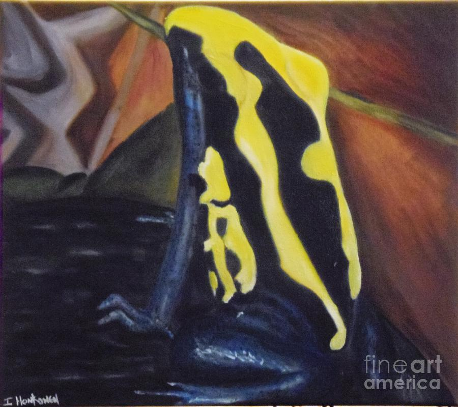 Frog Painting - Blue And Yellow Poison Dart Frog by Isabel Honkonen