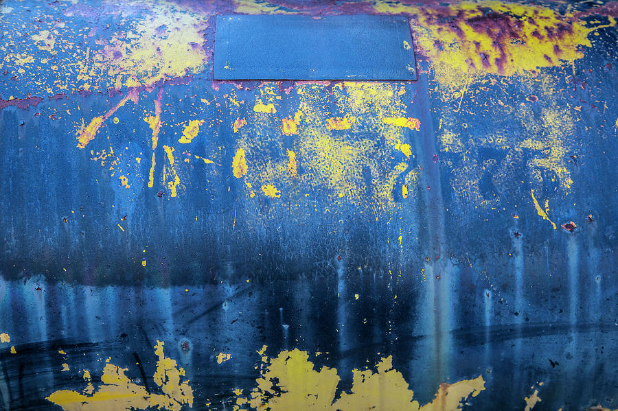 Blue And Yellow Rust Abstract Photograph