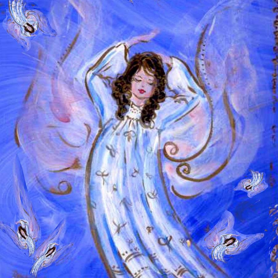 Blue Mixed Media - Blue Angel Waking by Rosemary Babikan