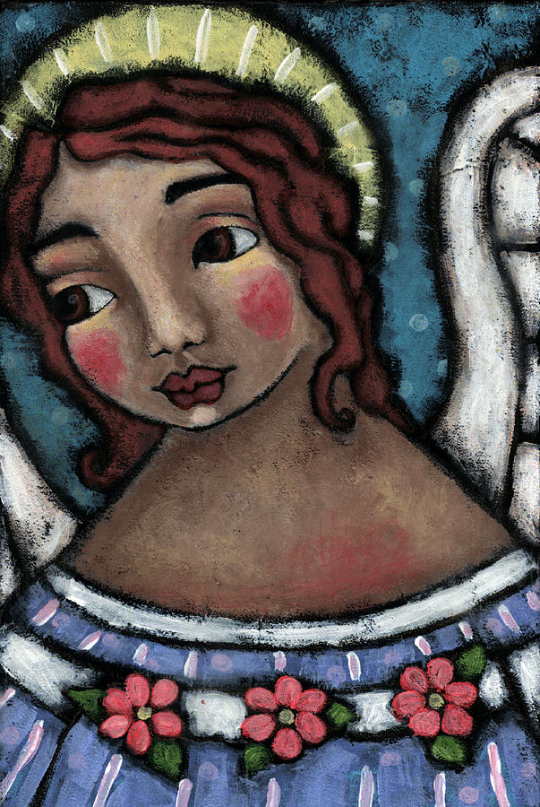 Angel Painting - Blue Angel With Golden Halo by Julie-ann Bowden
