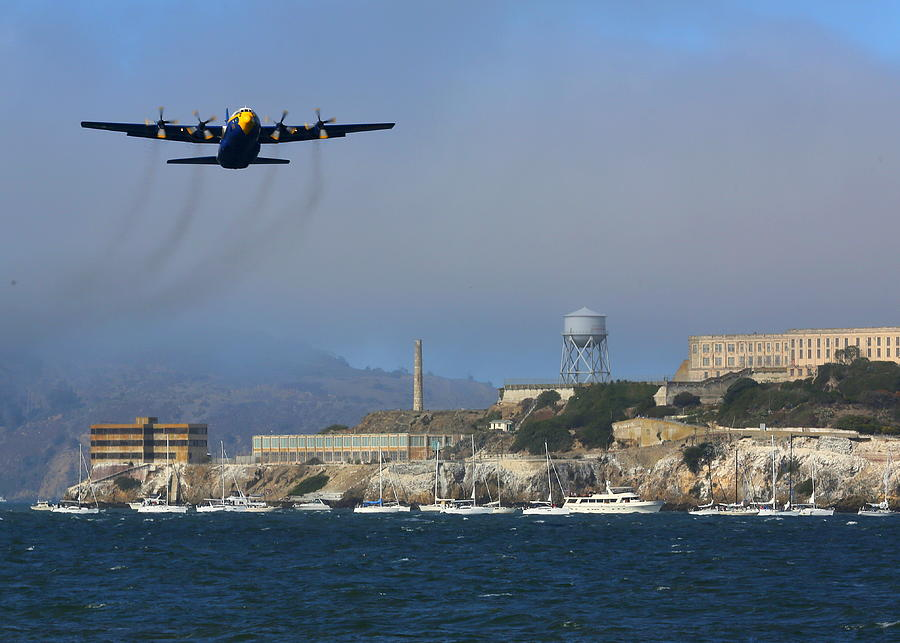 Blue Angels C130 Fat Albert Passes Alcatraz Photograph by John King
