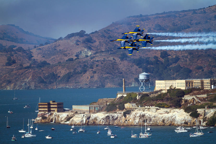 Blue Angels Photograph - Blue Angels Over Alcatraz by Bonnie Follett