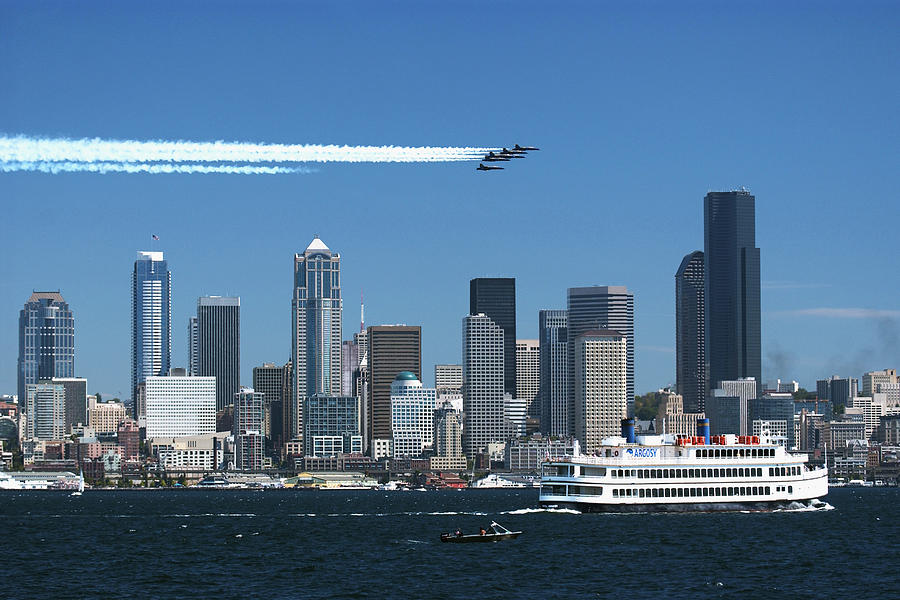 Seattle Photograph - Blue Angels Over Seattle D028 by Yoshiki Nakamura