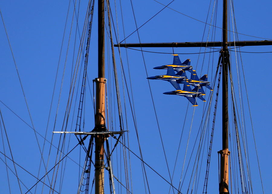 Blue Angels Pass Behind Masts Of The Balclutha At Hyde Street Pier Photograph by John King