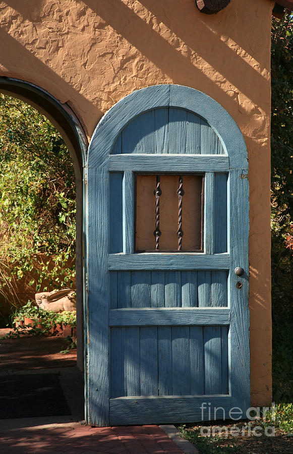 Door Photograph - Blue Arch Door by Timothy Johnson