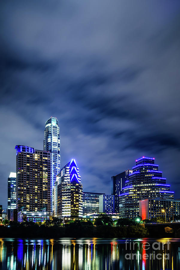 2016 Photograph - Blue Austin Skyline At Night by Paul Velgos