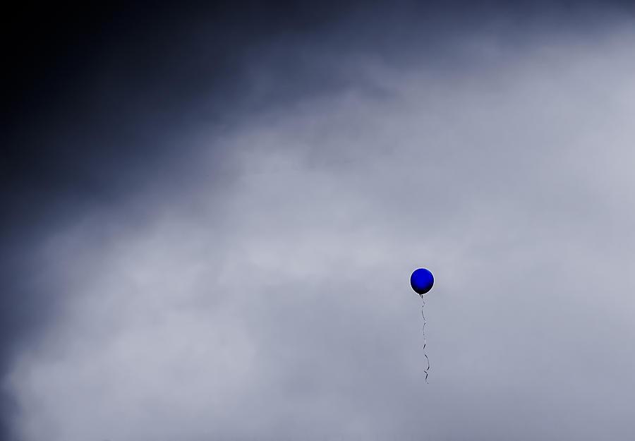 Blue Balloon On Grey Sky Photograph By S R Longstroth