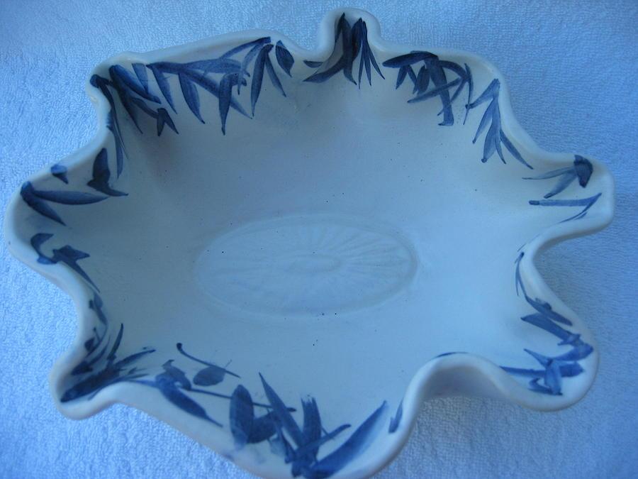 Bowl Ceramic Art - Blue Bamboo Bowl by Julia Van Dine