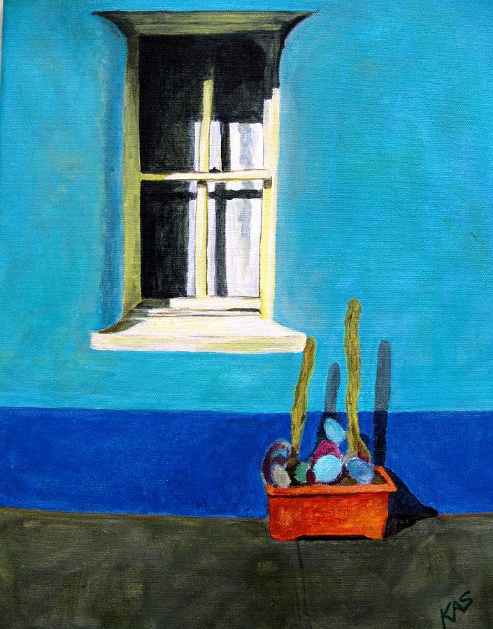 Southwest Painting - Blue Barrio Window by Kitty Schwartz