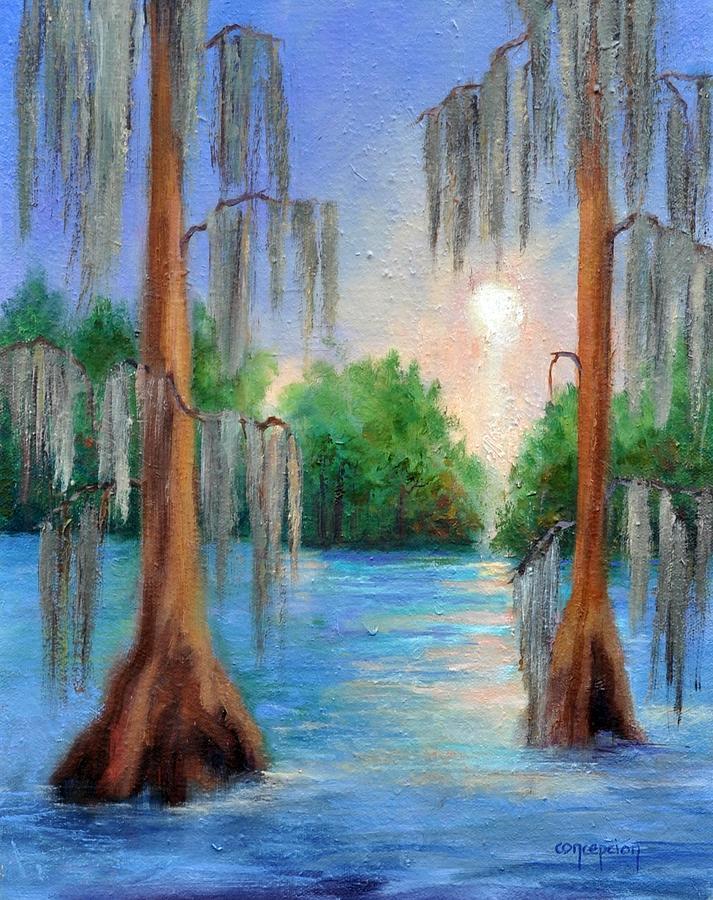Louisiana Bayou Painting - Blue Bayou by Ginger Concepcion