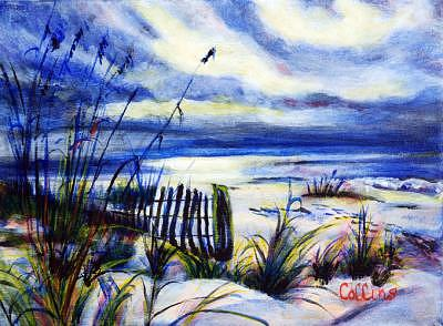 Sea Oats Painting - Blue Beach by C D  Collins
