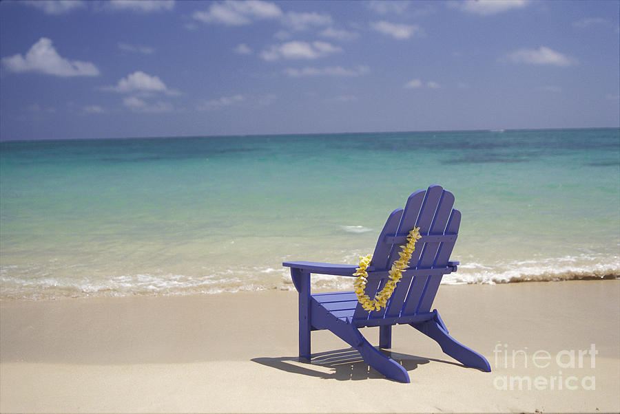 Incroyable Afternoon Photograph   Blue Beach Chair By Dana Edmunds   Printscapes