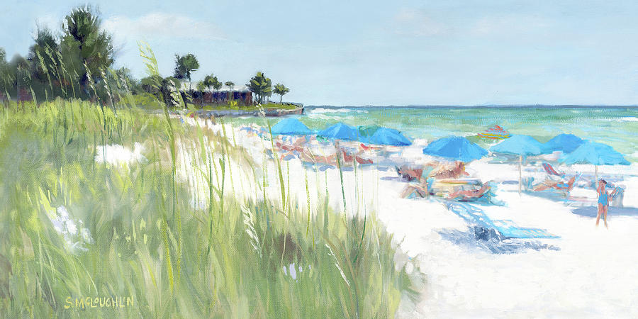 Blue Beach Umbrellas, Crescent Beach, Siesta Key - wide by Shawn McLoughlin