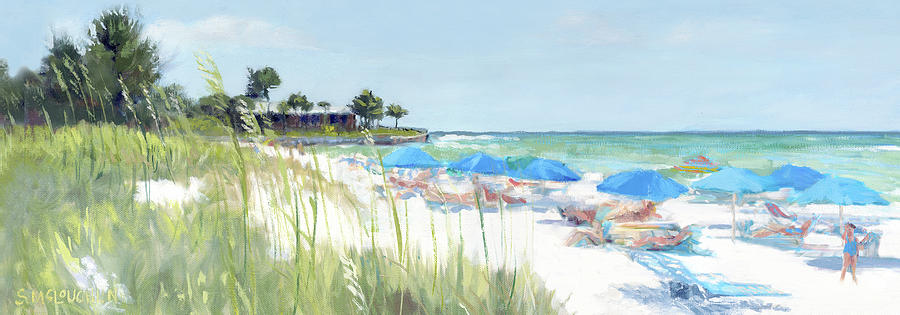 Blue Beach Umbrellas on Point of Rocks, Crescent Beach, Siesta Key wide-narrow by Shawn McLoughlin