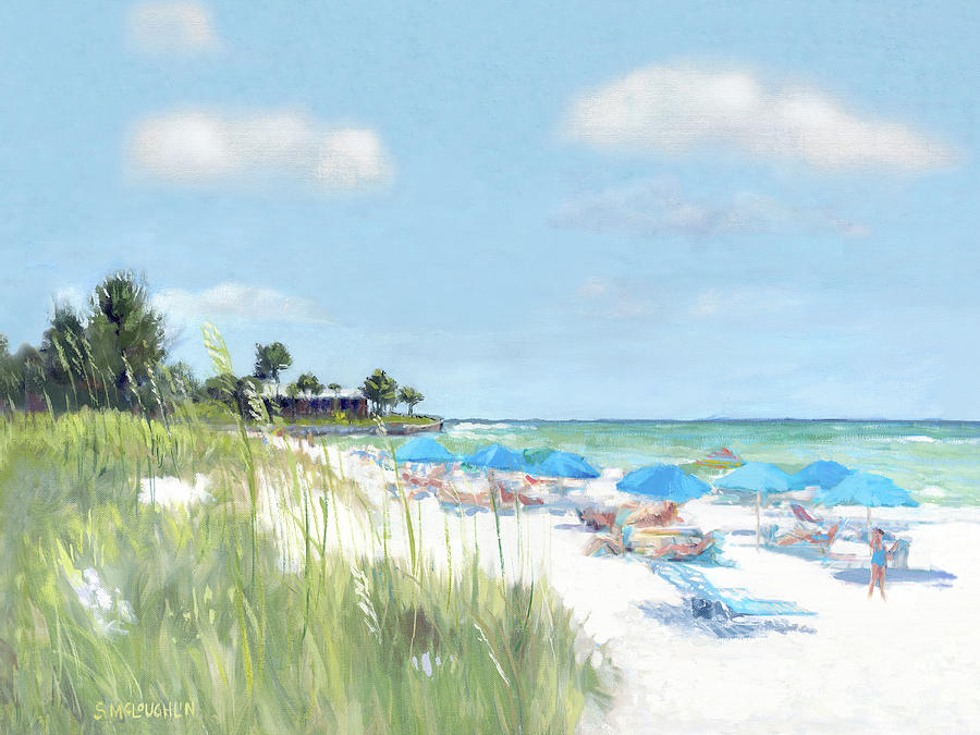 Blue Beach Umbrellas, Point of Rocks, Crescent Beach, Siesta Key by Shawn McLoughlin
