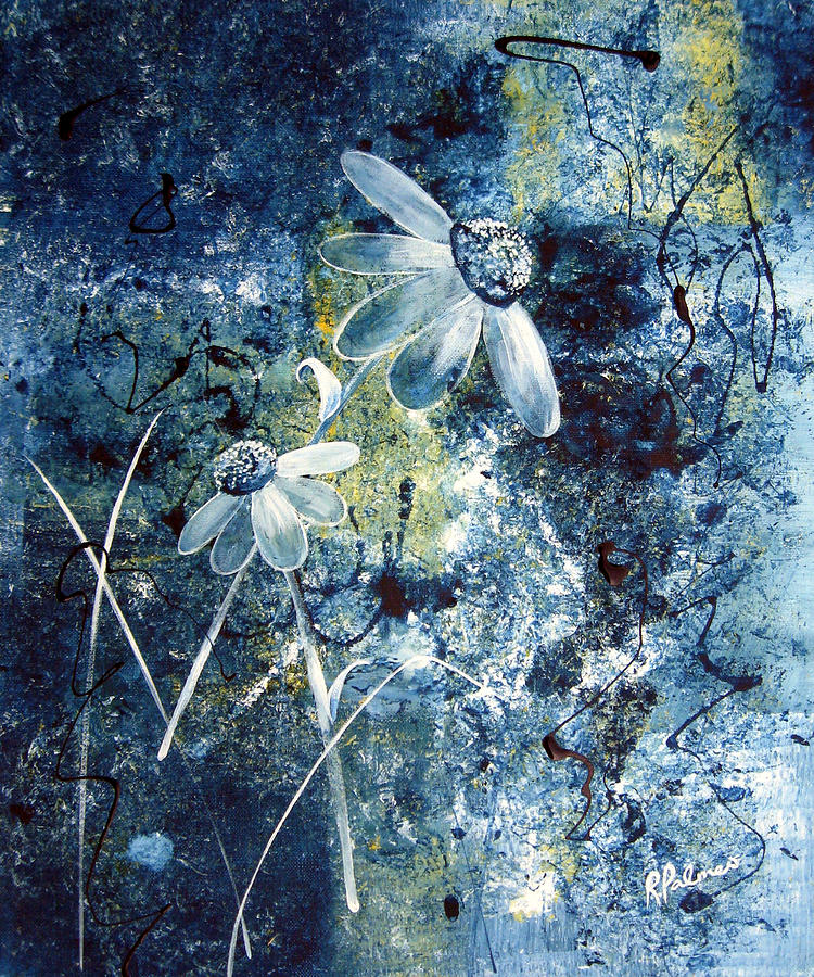 Abstract Painting - Blue Beauties by Ruth Palmer