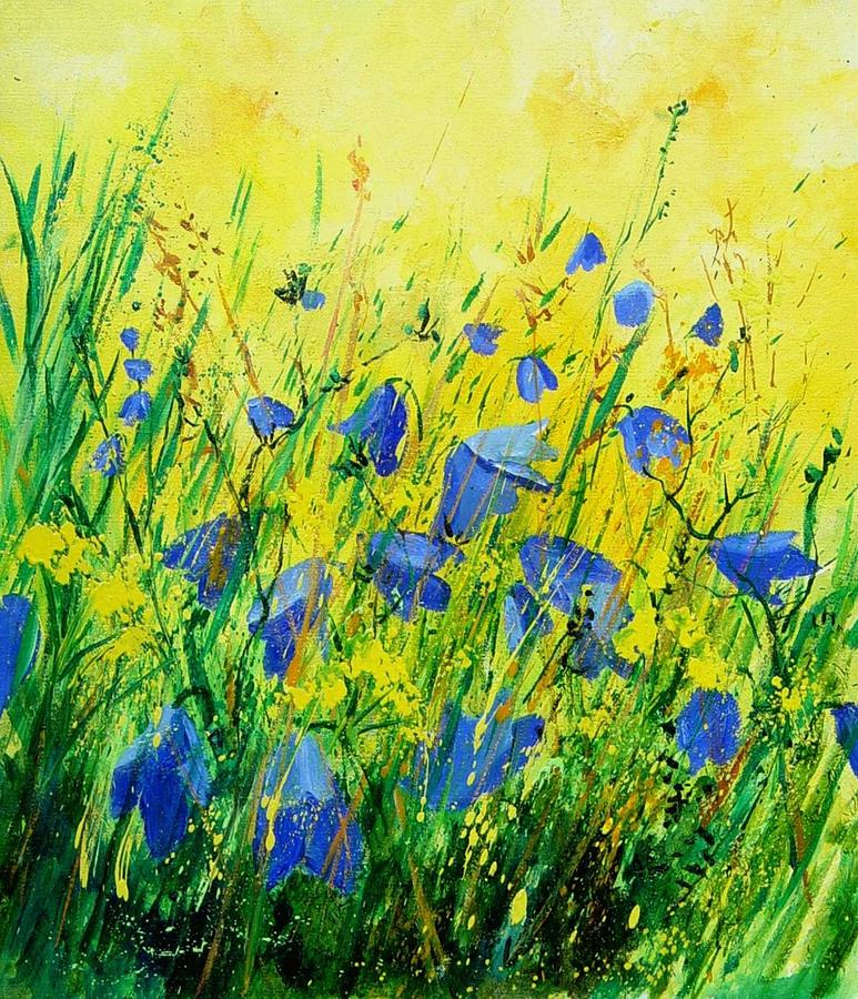 Poppies Painting - Blue bells  by Pol Ledent