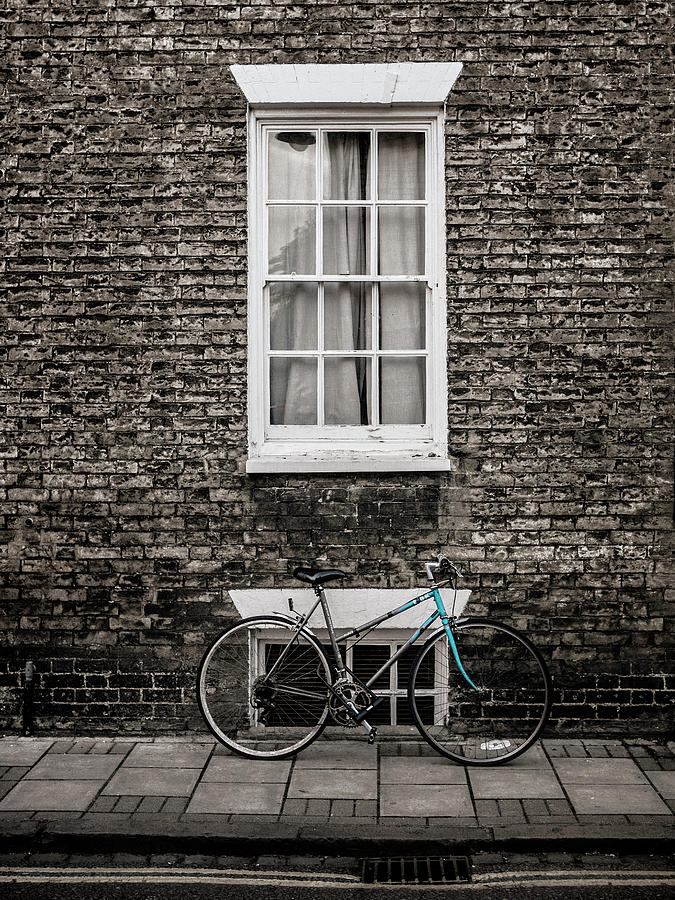 Bike Photograph - Blue Bicycle, Cambridge, England by Carol Leigh