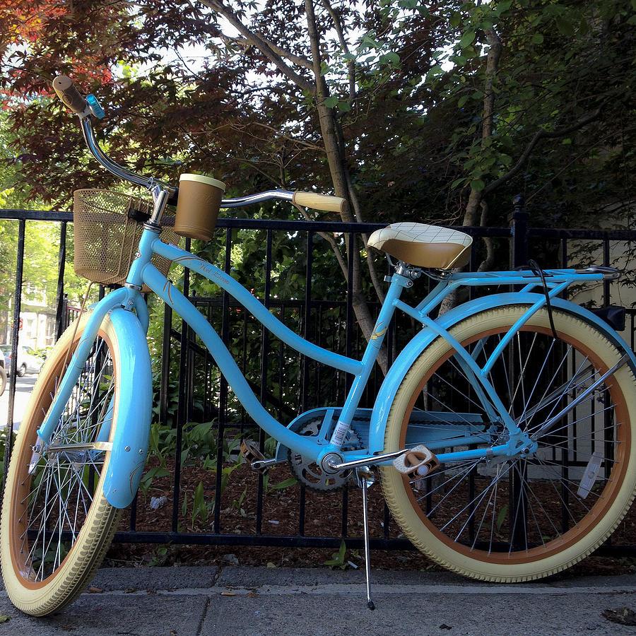 Bike Photograph - Blue Bike by David Stone