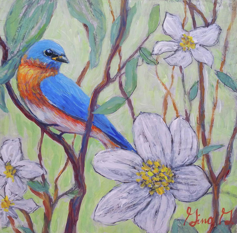Blue Bird and Blossoms by Gina Grundemann