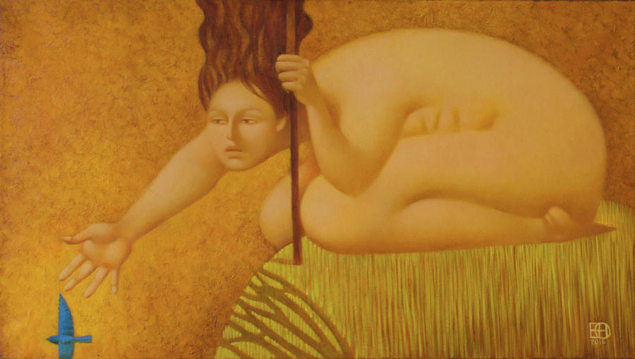 Nude Painting - Blue bird by Nadia Egorova