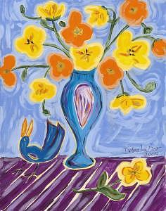 Blue Bird Painting - Blue Bird On Table by Debra LaBar