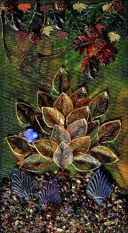 Blue Bird Mixed Media - Blue Bird Singing In An Autumn Tree by Donna Blackhall
