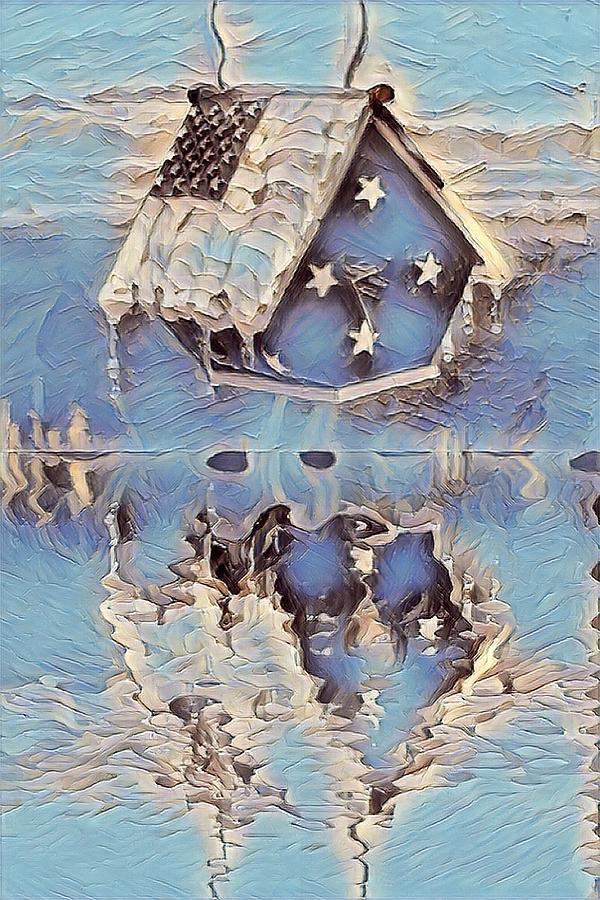 Birdhouse Digital Art - Blue Birdhouse  by Brenda Plyer