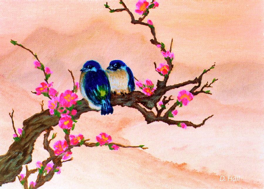Blue Birds Painting - Blue Birds And Plum Blossoms #48 by Donald k Hall